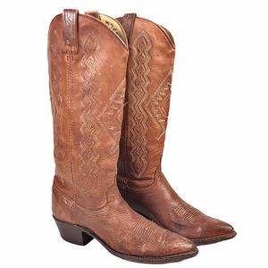 Dan Post Cowboy Boots Brown Leather Men's Size 8